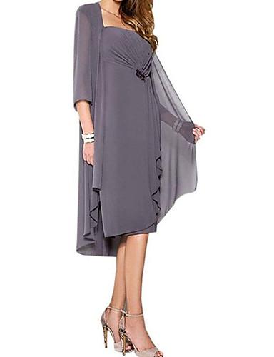 voordelige Wrap Dresses-A-lijn / Tweedelig hihnat Tot de knie Chiffon Bruidsmoederjurken met Ruches door LAN TING Express / Wrap inbegrepen