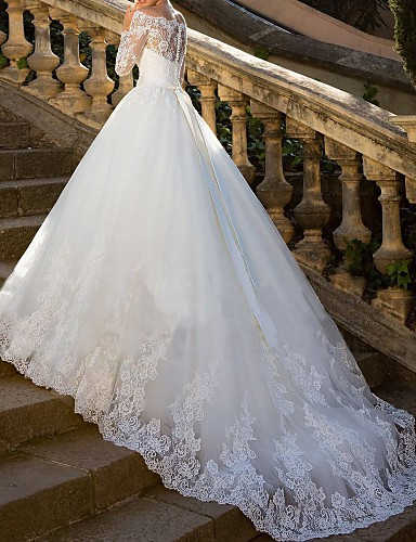 cheap Wedding Dresses-Ball Gown Off Shoulder Chapel Train Lace / Tulle / Lace Over Satin Long Sleeve Glamorous Sparkle & Shine / Illusion Sleeve Wedding Dresses with Sashes / Ribbons / Crystals / Appliques 2020