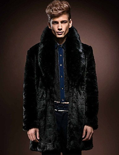 levne Pánská saka a kabáty-Pánské Denní Podzim zima Standardní Faux Fur Coat, Jednobarevné Přehnutý Dlouhý rukáv Umělá kožešina Černá