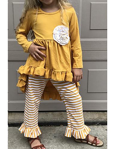 abordables Vêtements de bébé-Enfants Fille Basique Pâques Rayé Halloween Manches Longues Ensemble de Vêtements Jaune