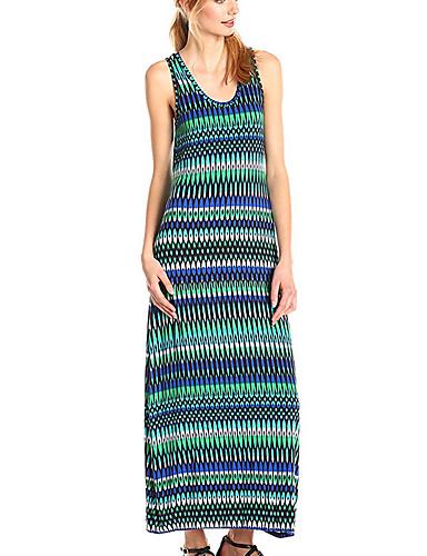 voordelige Maxi-jurken-Dames Standaard A-lijn Jurk - Gestreept, Print Maxi Blauw