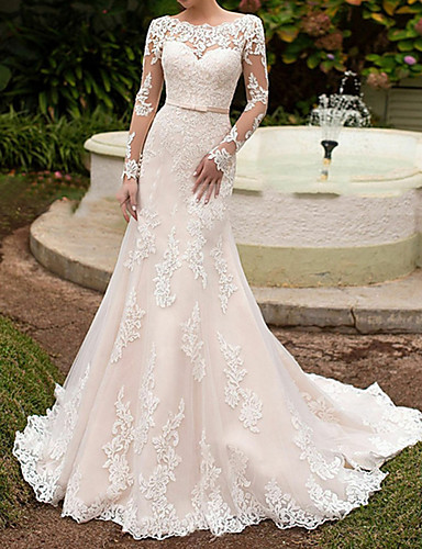 cheap Boho Wedding Dresses-Mermaid / Trumpet Bateau Neck Sweep / Brush Train Lace Long Sleeve Boho Illusion Sleeve Wedding Dresses with Sashes / Ribbons 2020
