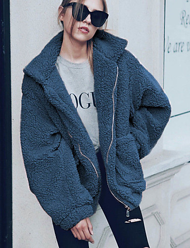 levne Dámské kabáty a trenčkoty-Dámské Denní Základní / Čínské vzory Podzim zima Standardní Kabát, Jednobarevné Košilový límec Dlouhý rukáv Polyester Černá / Bílá / Světlá růžová