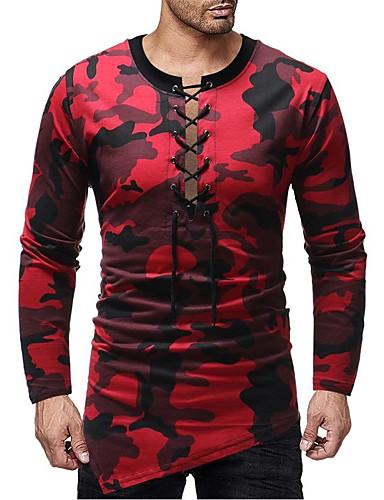 levne Pánská tílka-Pánské - Jednobarevné / maskování Základní / Elegantní Tričko Rubínově červená