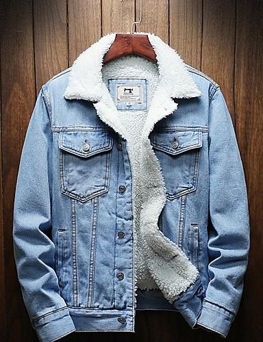 levne Pánská saka a kabáty-Pánské Denní Podzim zima Standardní Kot Ceketler, Jednobarevné Přehnutý Dlouhý rukáv Polyester Černá / Světle modrá / Vodní modrá