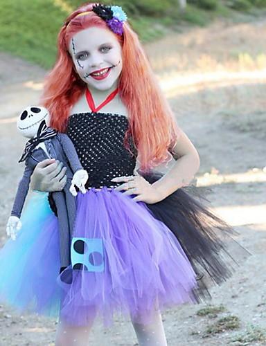 voordelige Uitverkoop-Kinderen Meisjes Street chic Kleurenblok Halloween Mouwloos Kledingset Zwart