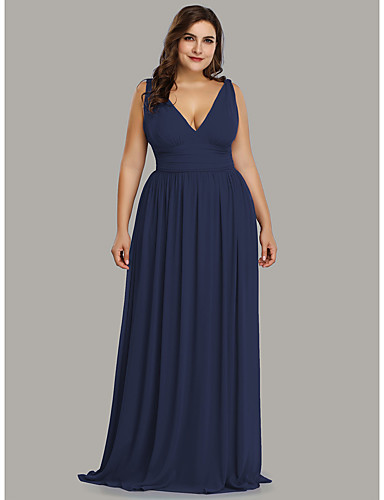 levne Šaty pro slavnostní příležitosti-A-Linie Hluboký výstřih Na zem Šifón Formální večer Šaty s podle LAN TING Express