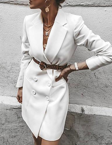 levne Pracovní šaty-Dámské Elegantní Pouzdro Šaty - Jednobarevné Nad kolena Do V
