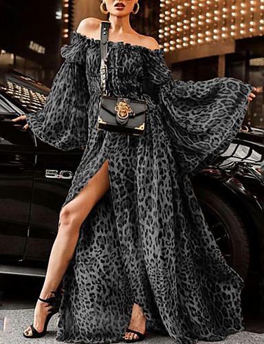 levne Maxi šaty-Dámské Základní Swing Šaty - Leopard, Tisk Maxi