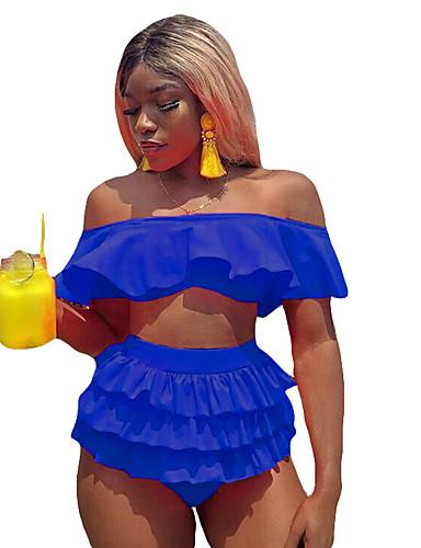 billige Dametopper-Dame Svart Oransje Blå Bandeau Cheeky Bikinikjole Badetøy - Ensfarget M L XL Svart