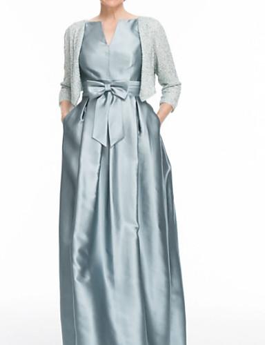 ราคาถูก แม่ของชุดเจ้าสาว-ทูพีซ อัญมณี ลากพื้น ซาติน แม่ของชุดเจ้าสาว กับ ริบบิ้น / กระโปรงระบาย โดย LAN TING Express / มีผ้าคลุม