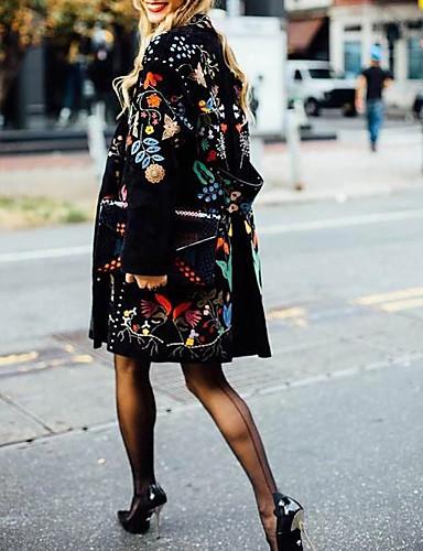 olcso Női felsőruházat-Női Napi Ősz & tél Szokványos Kabát, Növények Gallér nélküli Hosszú ujj Poliészter Fekete