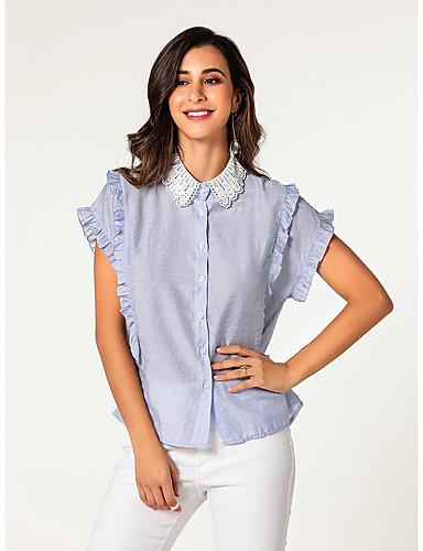 billige Dametopper-Skjorte Dame - Fargeblokk, Drapering / Broderi Grunnleggende BLå & Hvit Blå