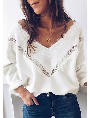 billige Gensere til damer-Dame Ensfarget Langermet Løstsittende Pullover Genserjumper, V-hals Hvit S / M / L