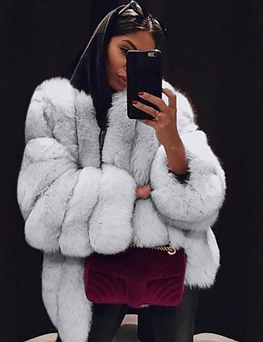 cheap Women's Furs & Leathers-Women's Daily Fall & Winter Regular Faux Fur Coat, Solid Colored V Neck Long Sleeve Faux Fur Black / Light gray / White