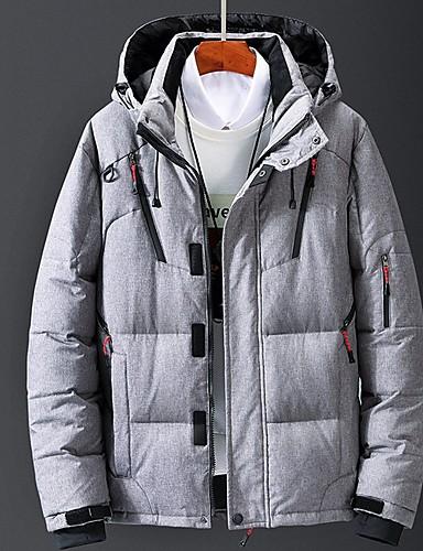 levne Pánské kabáty a parky-Pánské Jednobarevné Dlouhý kabát, Polyester Černá / Oranžová / Armádní zelená US32 / UK32 / EU40 / US34 / UK34 / EU42 / US36 / UK36 / EU44