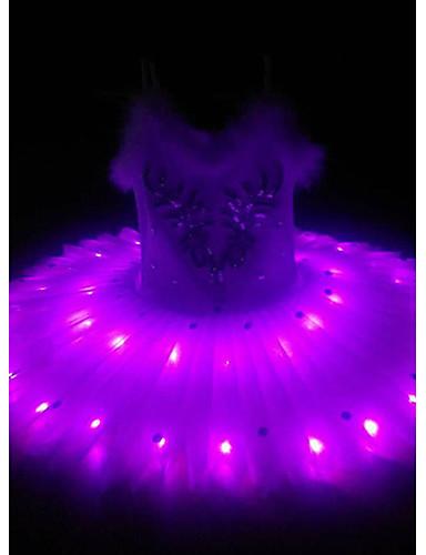 povoljno Maske i kostimi-Balet Labuđe jezero LED Slojevito Haljine kratka baletska suknja Suknja s mjehurićima Pod suknjom Djevojčice Dječji Til Pamuk Kostim Obala / purpurna boja / Zelen Vintage Cosplay Božić Party Halloween