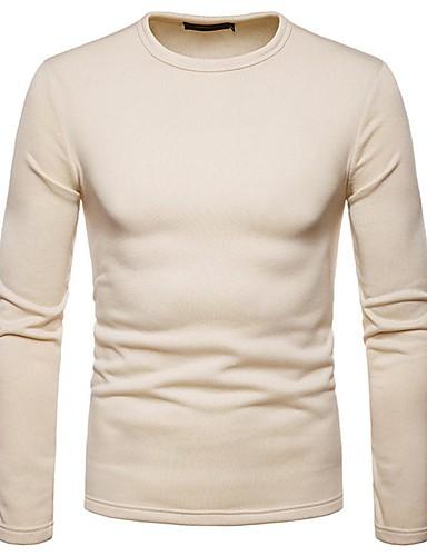 levne Pánská tílka-Pánské - Jednobarevné Základní / Elegantní Tričko Černá