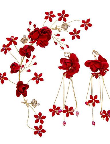 preiswerte Parykopfbedeckungen-Aleación mit Crystal / Strass / Blume 3 Stück Hochzeit Kopfschmuck