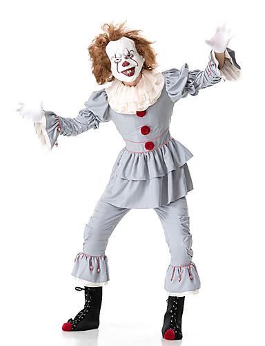 povoljno Maske i kostimi-Klaun Pennywise Cosplay Nošnje Izgledi Odrasli Par je Cosplay Halloween Halloween Festival / Praznik Polyster Svijetlo zelena / Pale Blue Par je Karneval kostime / Kostim / Kostim