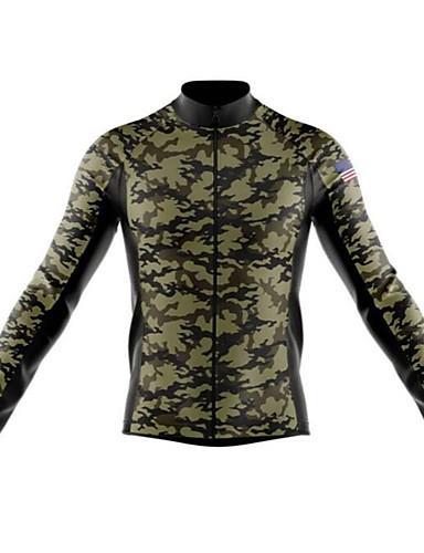 povoljno Odjeća za vožnju biciklom-21Grams kamuflaža American / USA Muškarci Dugih rukava Biciklistička majica - Forest Green Crno bijela  / Kamuflirati Bicikl Biciklistička majica Majice Ugrijati UV otporan Prozračnost Sportski Zima