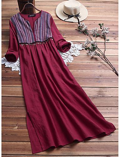 voordelige Maxi-jurken-Dames Vintage Chinoiserie Recht Jurk - Effen Gestreept Tribal, Patchwork Maxi