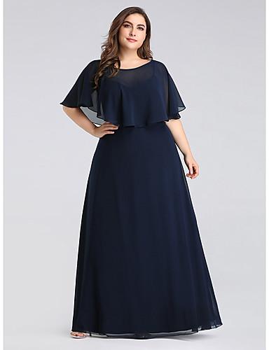 voordelige Wrap Dresses-A-lijn Met sieraad Tot de grond Chiffon Bruidsmoederjurken met Geplooid door LAN TING Express / Bloemblad
