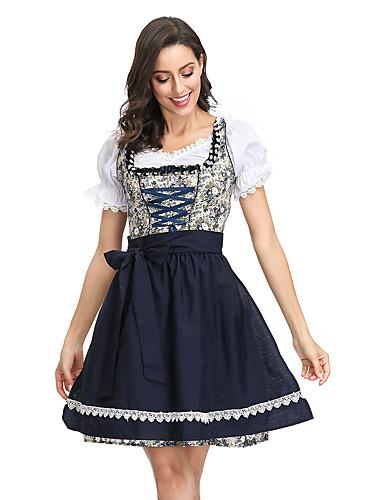 billige Halloween- og karnevalkostymer-Oktoberfest Dirndl Trachtenkleider Dame Kjole bayerske Kostume Blå
