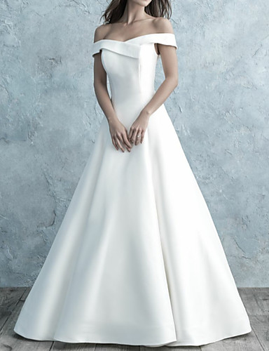 cheap Wedding Dresses-A-Line Off Shoulder Floor Length Satin Short Sleeve Simple Backless Wedding Dresses with Buttons 2020