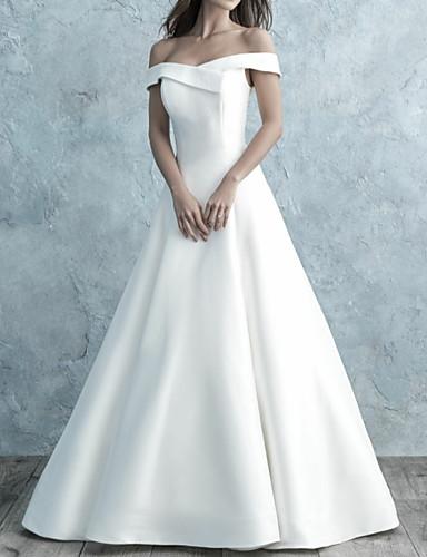 povoljno Vjenčanice 2019-A-kroj Spuštena ramena Do poda Saten Izrađene su mjere za vjenčanja s Gumbi po LAN TING Express