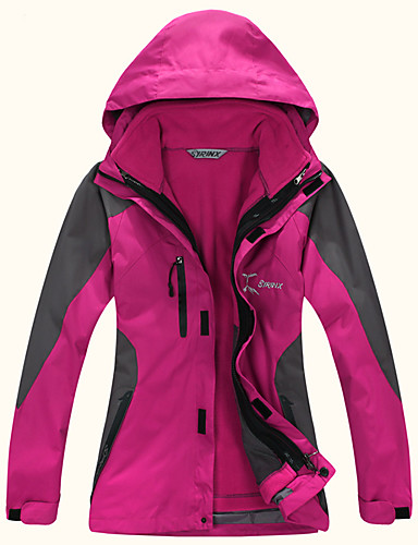 cheap Softshell, Fleece & Hiking Jackets-Women's Hiking Jacket Winter Outdoor Patchwork Waterproof Windproof Warm Comfortable Top Camping / Hiking / Caving Traveling Winter Sports Yellow / Red / Fuchsia / Blue / Green