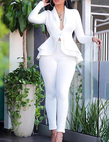 preiswerte Damen zweiteilige Anzüge-Damen Bluse - Solide Hose