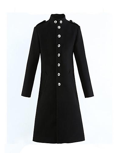 levne Pánská saka a kabáty-Pánské Denní Podzim zima Standardní Kabát, Jednobarevné Stojáček Dlouhý rukáv Polyester Černá
