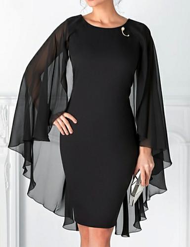 preiswerte Kleider für besondere Anlässe-Eng anliegend Schmuck Knie-Länge Chiffon Kleines Schwarzes Kleid Cocktailparty Kleid mit Perlenstickerei durch LAN TING Express