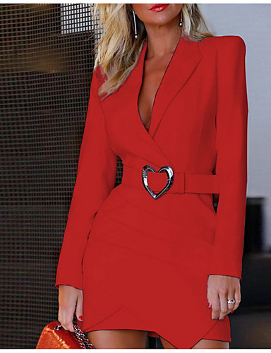 levne Pracovní šaty-Dámské Štíhlý Pouzdro Šaty - Jednobarevné Mini Košilový límec