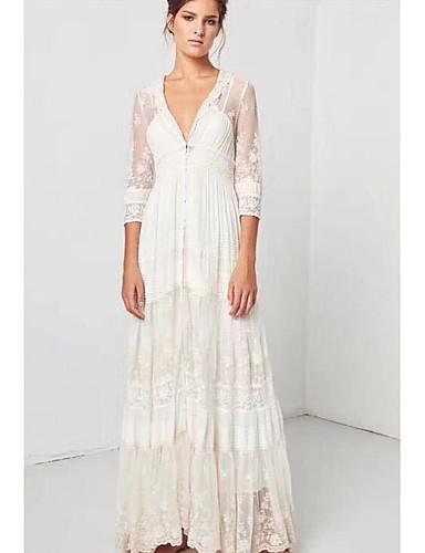 Жен. С летящей юбкой Платье - Однотонный Цветочный принт Макси