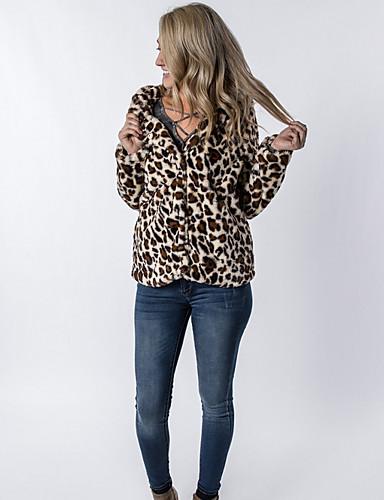 levne Dámské kabáty a trenčkoty-Dámské Denní Standardní Kabát, Leopard Kapuce Dlouhý rukáv Umělá kožešina Hnědá