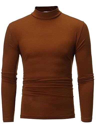 voordelige Uitverkoop-Heren Vintage / Standaard T-shirt Effen Zwart