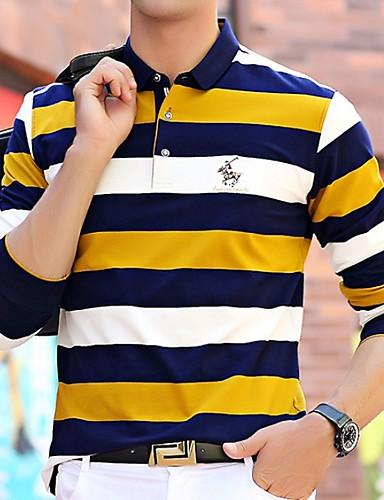 levne Pánská tílka-Pánské - Proužky Tričko Žlutá