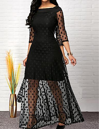 Жен. Классический Оболочка Платье - Однотонный Макси