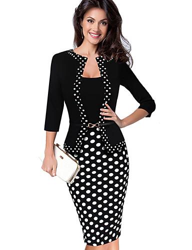 levne Pracovní šaty-Dámské Základní Elegantní Shift Pouzdro Šaty - Puntíky, Patchwork Délka ke kolenům