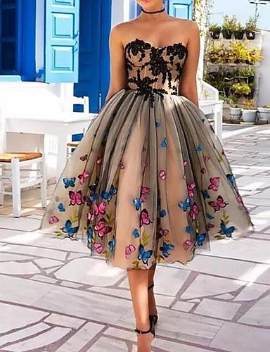 preiswerte Cocktailkleider-A-Linie Sweetheart Tee-Länge Polyester Offener Rücken Cocktailparty Kleid mit Applikationen / Spitzeneinsatz durch LAN TING Express