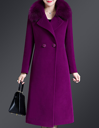 cheap Women's Coats & Trench Coats-Women's Holiday Vintage / Sophisticated Winter Long Coat, Solid Colored Notch Lapel Long Sleeve Wool / Polyester Patchwork Black / Wine / Purple