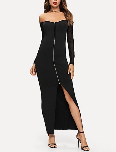 levne Maxi šaty-Dámské Šik ven Elegantní Bodycon Šaty - Jednobarevné, Volná záda Síťka Patchwork Maxi Pod rameny