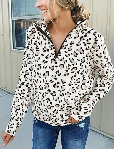 billige Dametopper-Bluse Dame - Leopard Grunnleggende Rosa