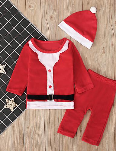 preiswerte Kindermode-Baby Jungen Aktiv / Grundlegend Einfarbig / Weihnachten Langarm Standard Kleidungs Set Rote
