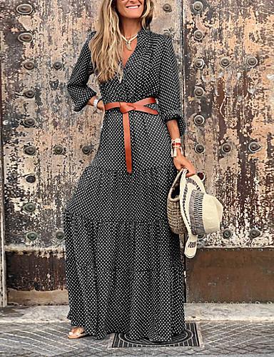Жен. Уличный стиль С летящей юбкой Платье - Контрастных цветов Макси