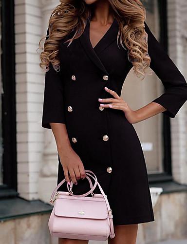 levne Pracovní šaty-Dámské Pouzdro Šaty - Jednobarevné Mini