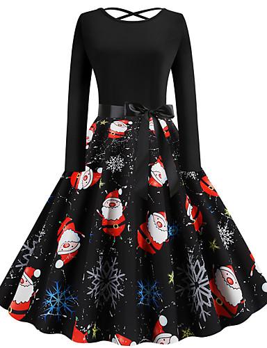 levne Vánoční obchod-Dámské Párty Vintage Základní Swing Šaty - Geometrický, Patchwork Tisk Délka ke kolenům Ježíšek