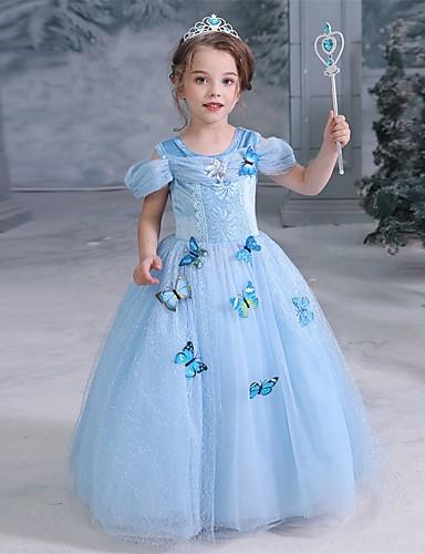 povoljno Movie & TV Theme Costumes-Cinderella Fairytale Princeza Haljine Djevojčice Filmski Cosplay Halloween Božić Plava Haljina Halloween